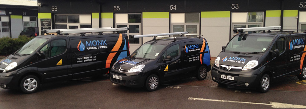Monk Plumbing & Heating vans in Cheltenham